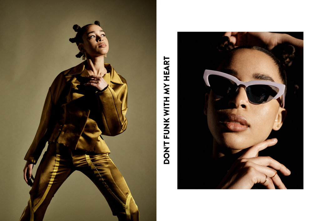 Left:  Full Look by   Richard Malone ,  Earrings Grace's own . Right:  Sunglasses by   Miu Miu   and Rings by   CF Concept   and   Eshvi .