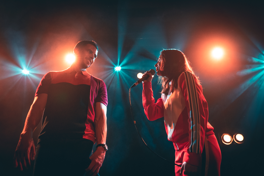 Nick Brewer with Naomi Scott at Hoxton Square in London, 2019. Photo by  Oliver Hosier .