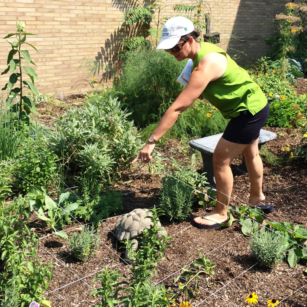 Leah Wallace of  Warring School  demonstrates a lesson from  Math in the Garden  about the coordinate plane.