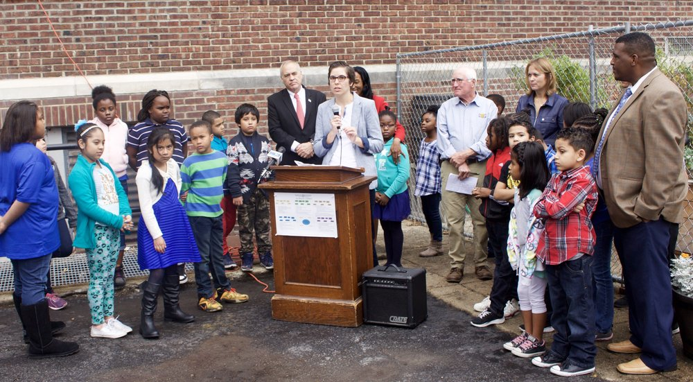Jamie talks about the successes of the Poughkeepsie Farm-to-School Program at Mr. DiNapoli's press conference.