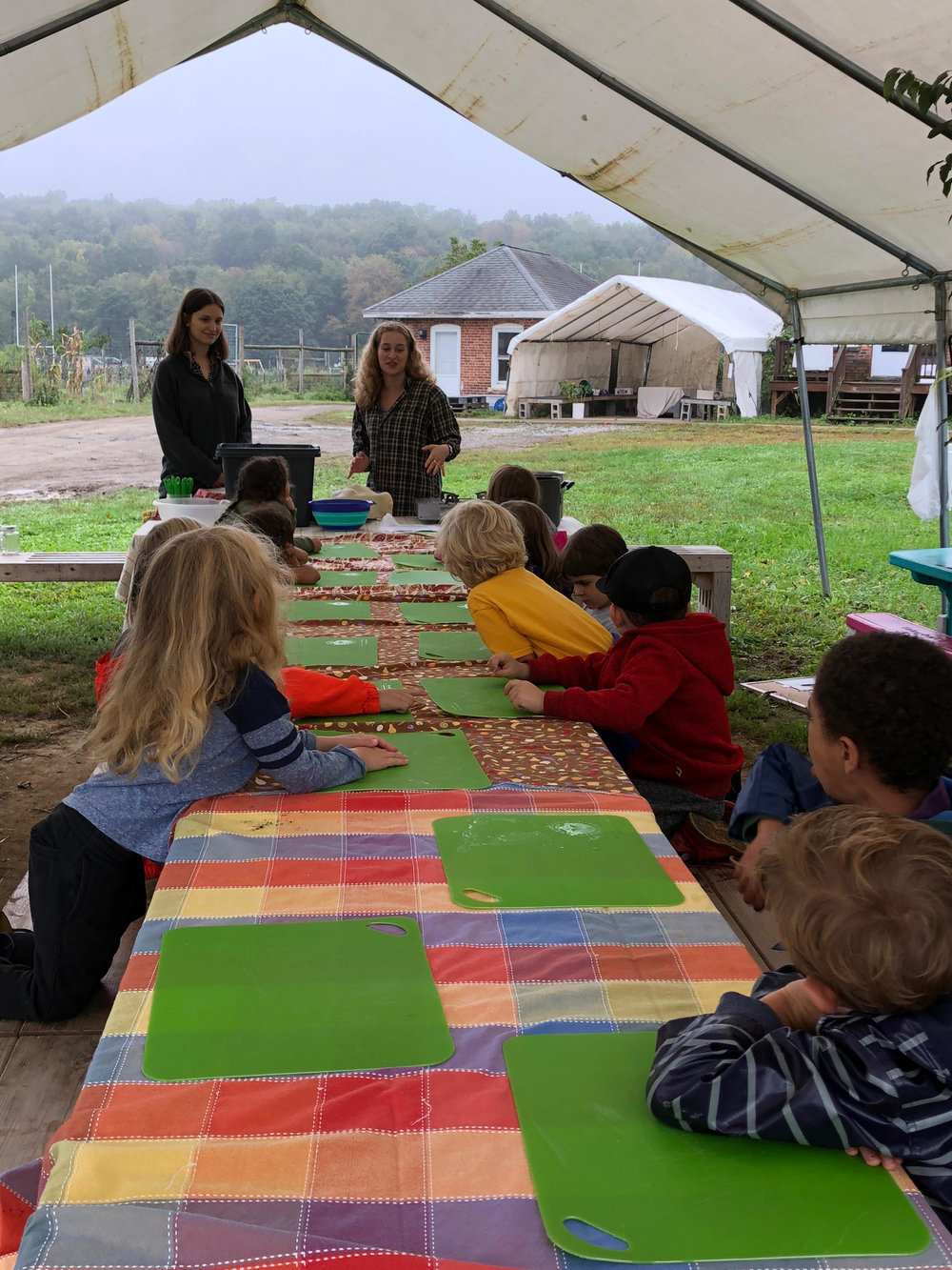 Lindsey in the plaid shirt teaching kids at a workshop!