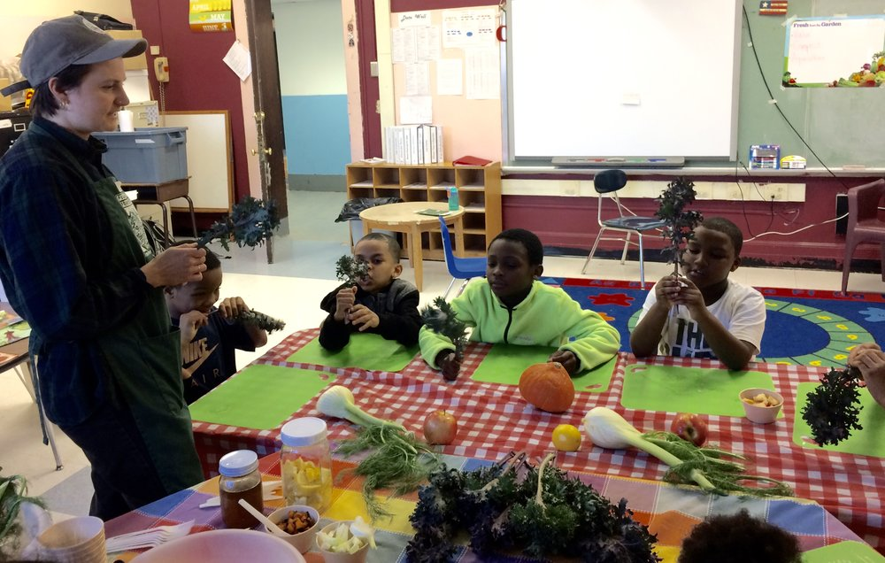Morse students learn to prepare kale salad