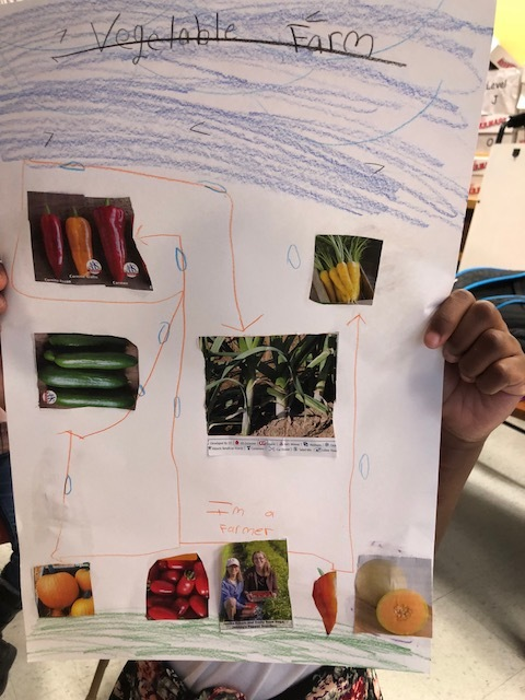 A Clinton student displays a design for a vegetable farm.