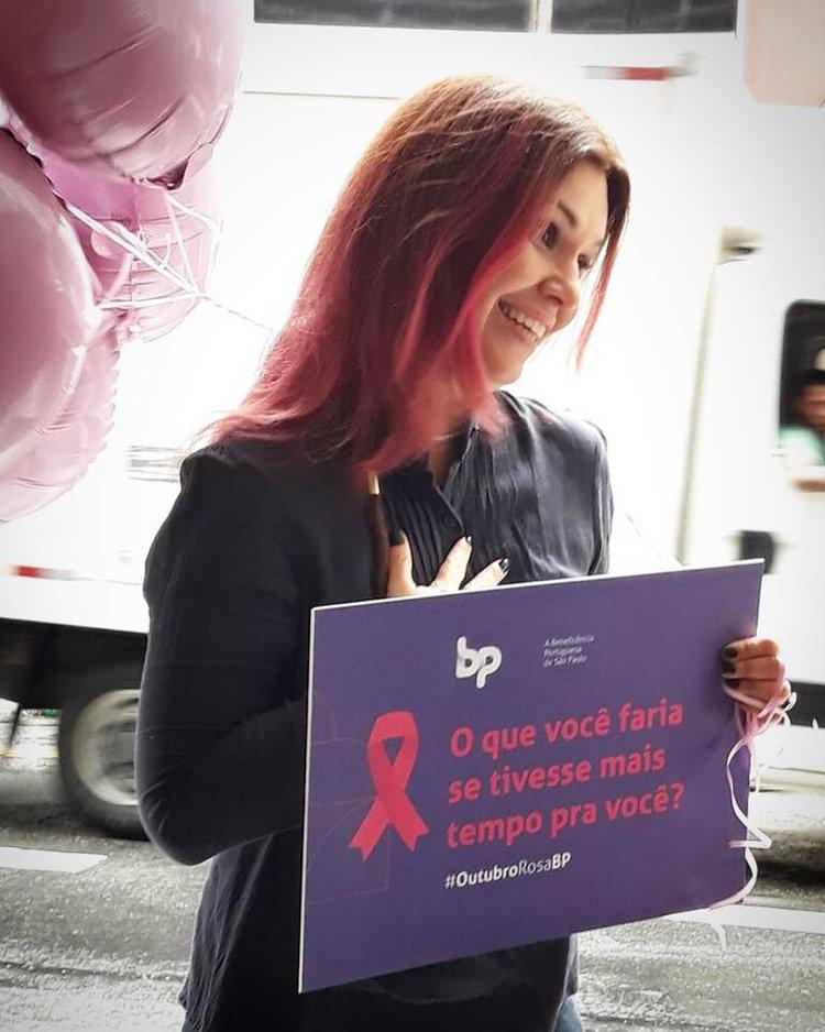 Renata foi a embaixadora da campanha contra o câncer de mama da BP de São Paulo.