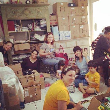 Organização e contagem dos materiais escolares