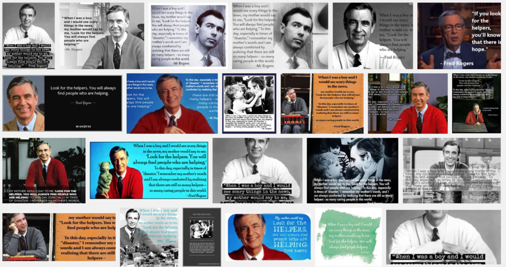 Fred Rogers, looking for helpers. Screencap of Google Image Search.