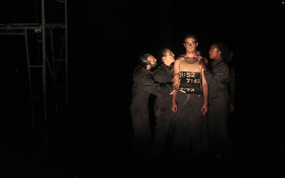 From left to right: Adam Vachon, Chelsea Pace, Adriano Cabral, and Shanique Scott in  POVV  by Punctum