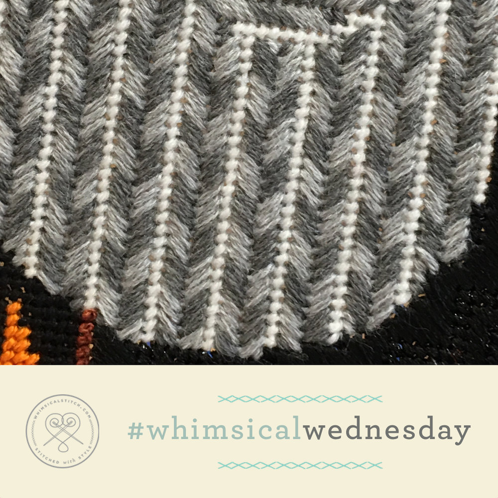 Click on image to see on whimsicalstitch.com's Instagram page. Visit instagram.com/whimsicalstitch to see a library of stitched samples for select #whimsicalwednesday and #smallspacesunday stitch diagrams.