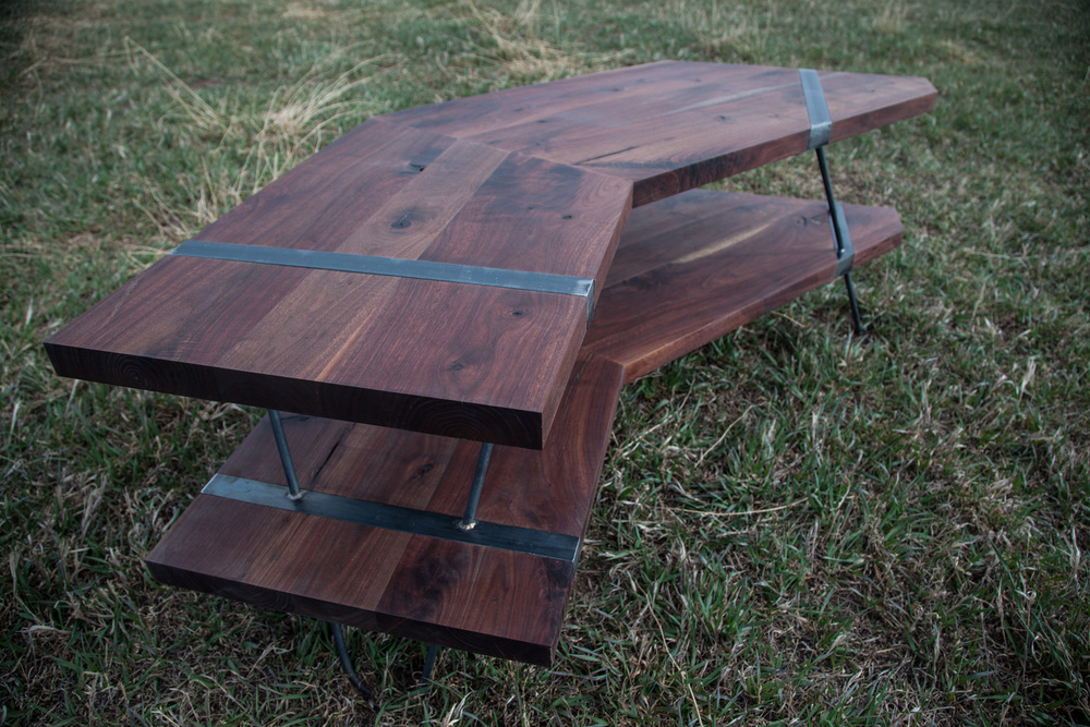 rose console walnut  • •  raw steel legs & inlays