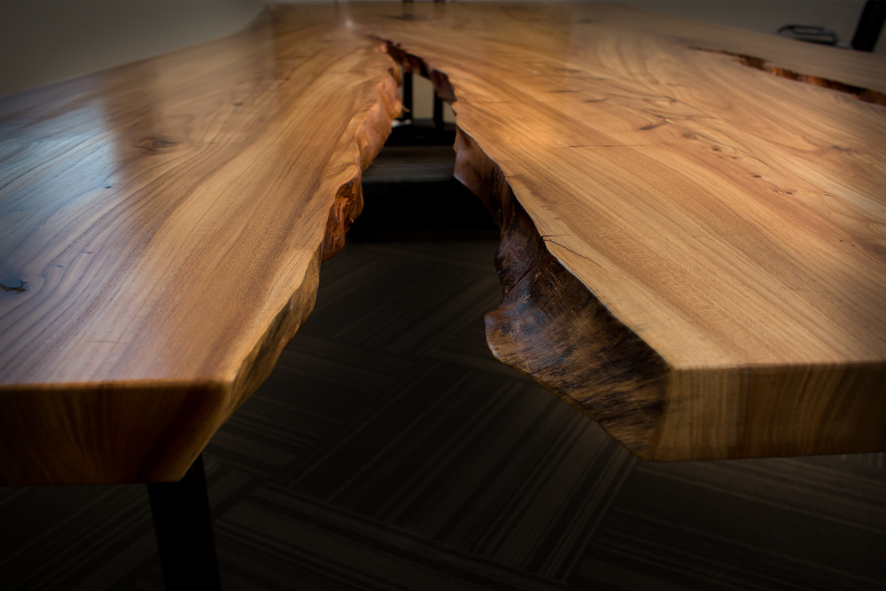 Slab Conference Table Siberian Elm  • •  square steel base