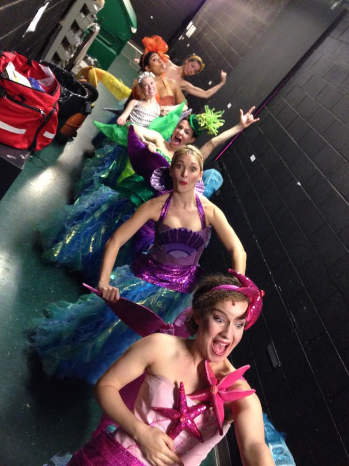Mermaid bobsled backstage during The Little Mermaid at Olney Theatre.  Costumes by Pei Lee.