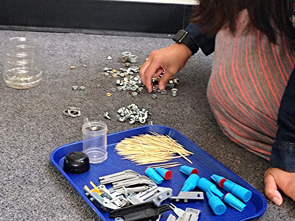 "Just one ""tray"" of open-ended materials to play with."