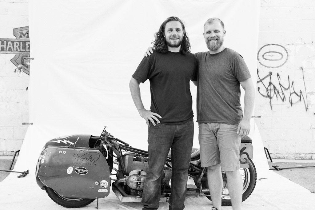Don Razniewski and Noel Worden after the 2012 Full Tilt Vintage Motorcycle show in Brooklyn.