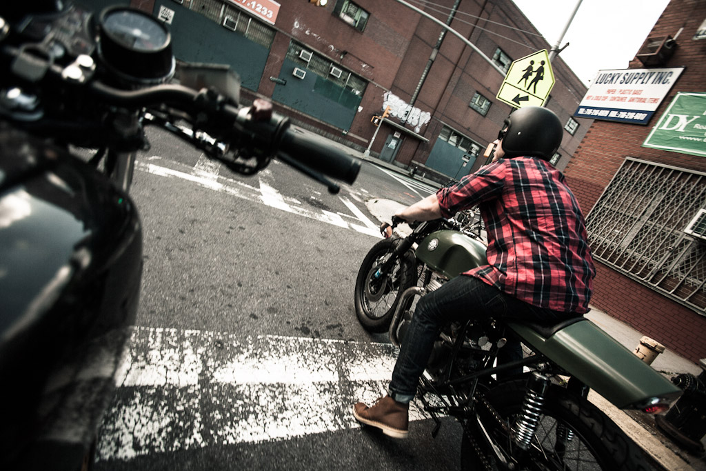 Project Moto's inaugural ride with Tom Grunwald in Williamsburg on his 1976 CB360.