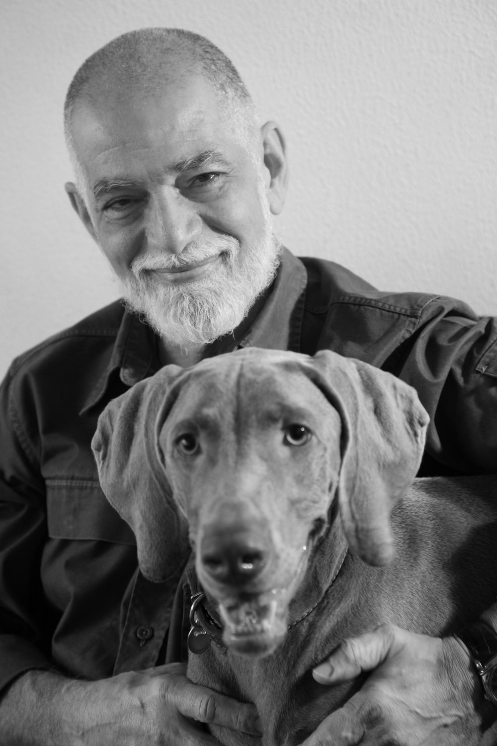Professor DeRose with his vegetarian weimaraner Jaya