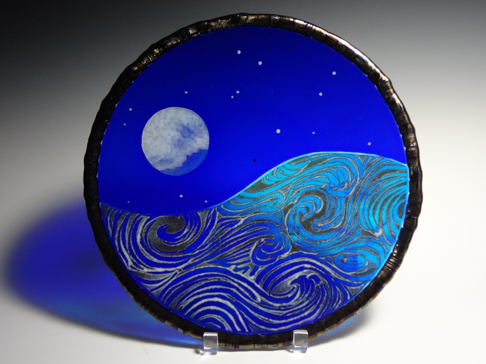 "Blue Moon<a href=>→</a><strong>13"" Diameter Plate $325</strong>"