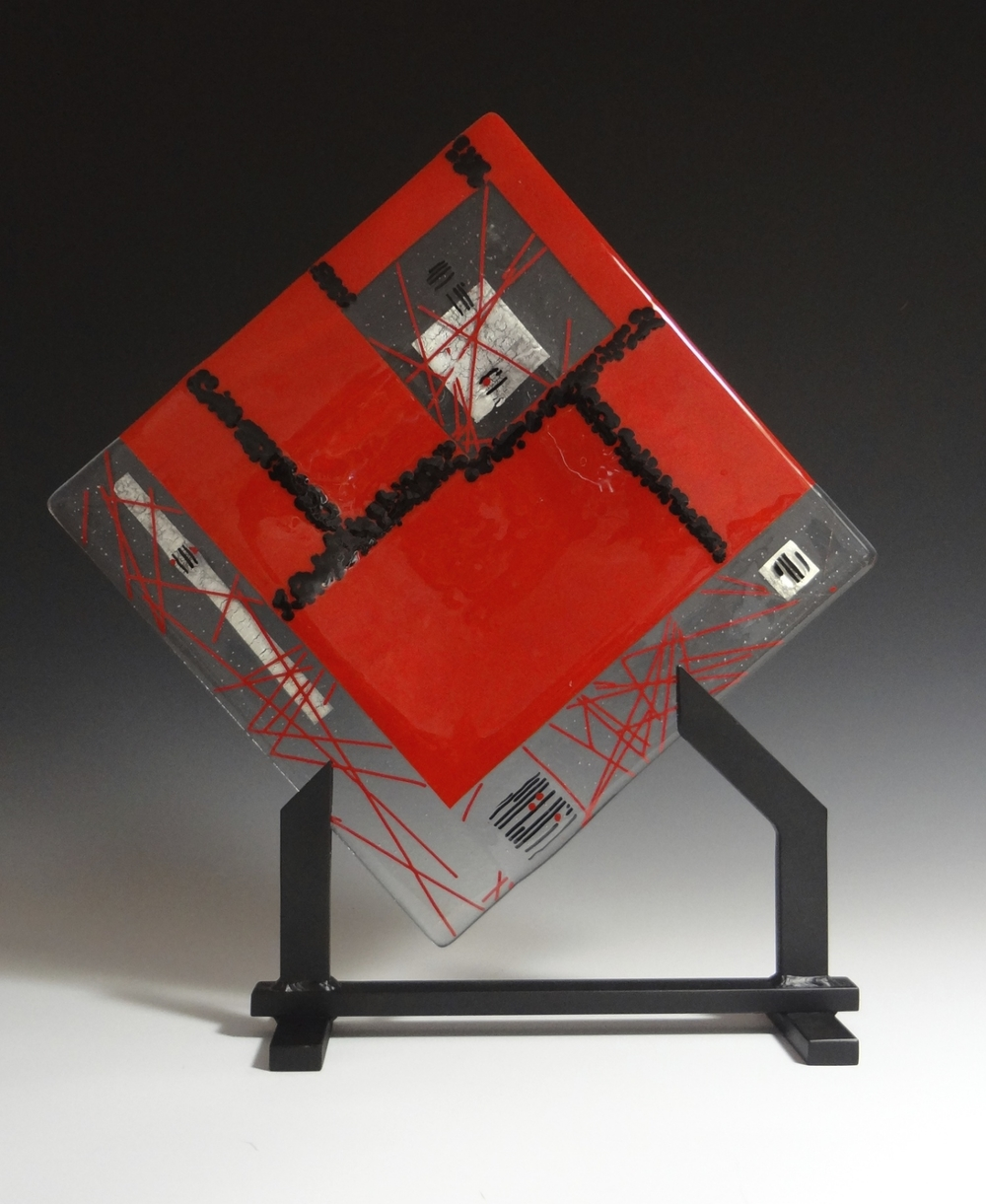 "Red & Black Geometric<a href=>→</a><strong>12"" x 12"" $275 (Stand Separate)</strong>"