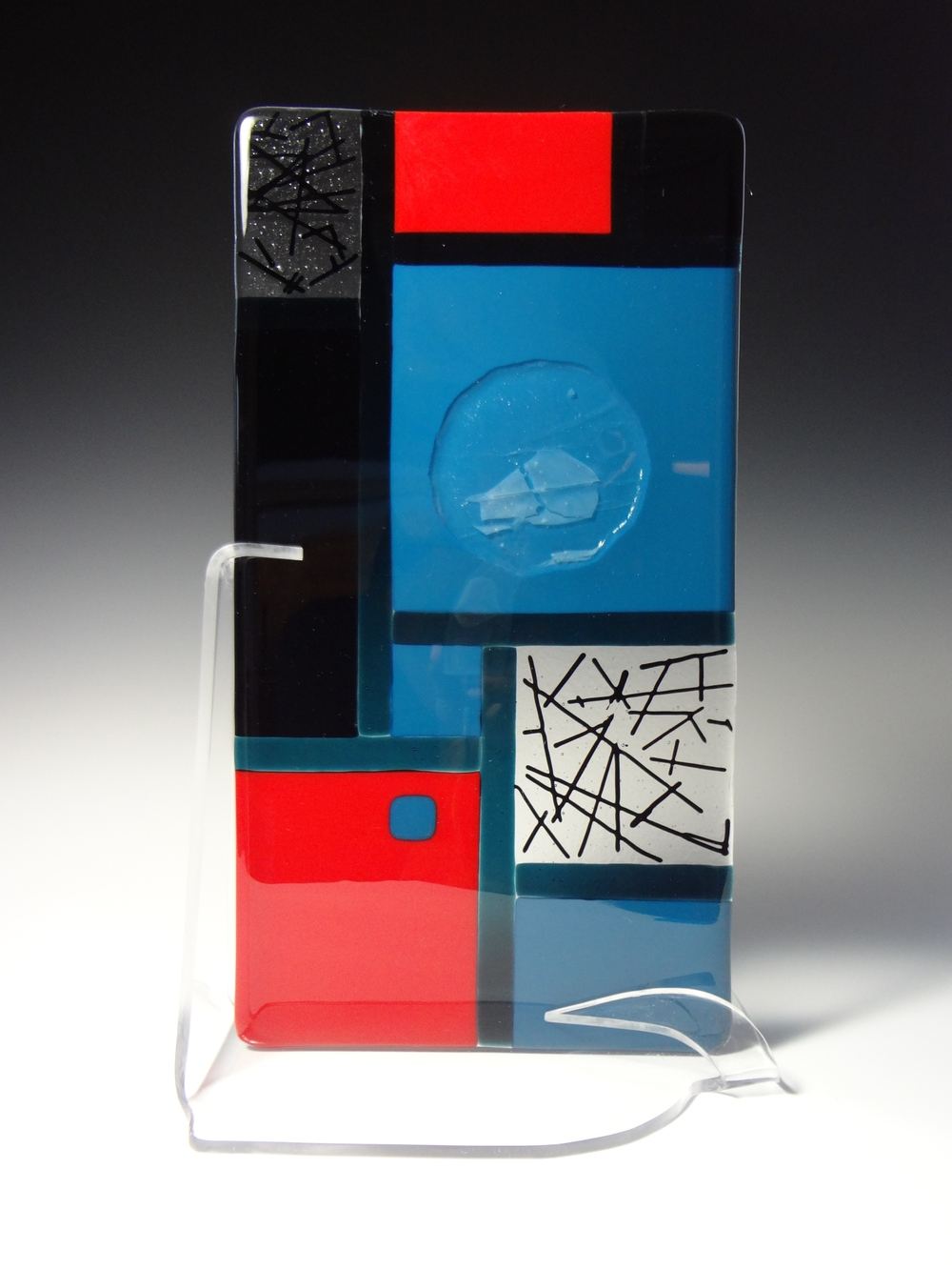 "Red, Black & Blue<a href=>→</a><strong>15"" x 8"" with Stand $250</strong>"
