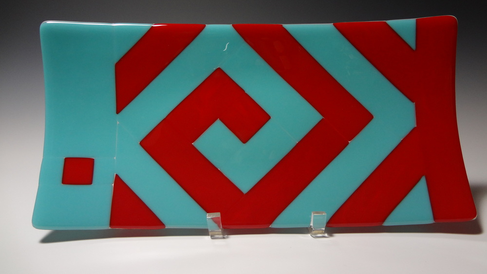"Greek Key Red & Turquoise<a href=>→</a><strong>7.5"" x 15"" $280 SOLD</strong>"