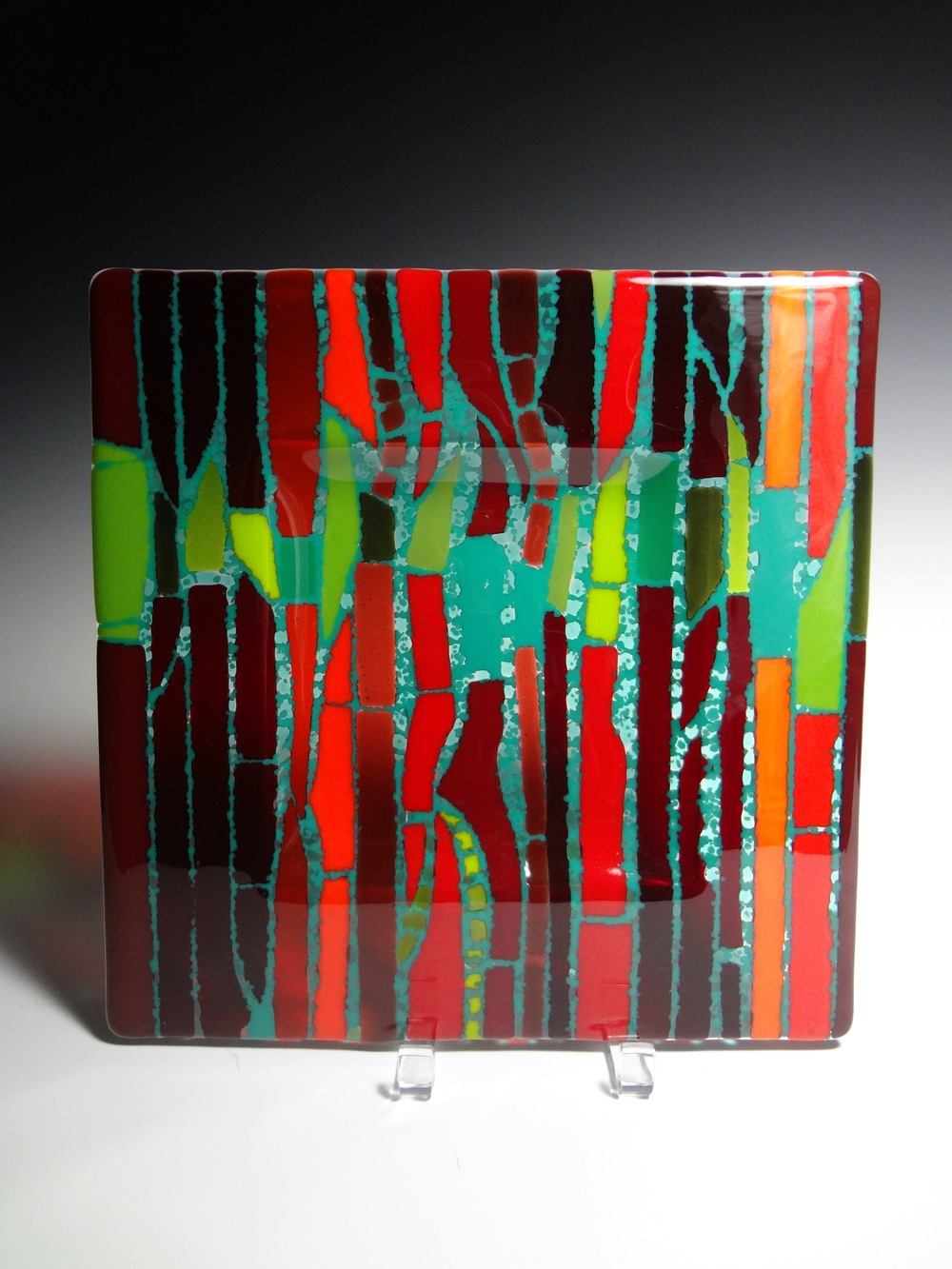 "Linear Pattern in Red & Green<a href=>→</a><strong>12"" x 12"" $250</strong>"