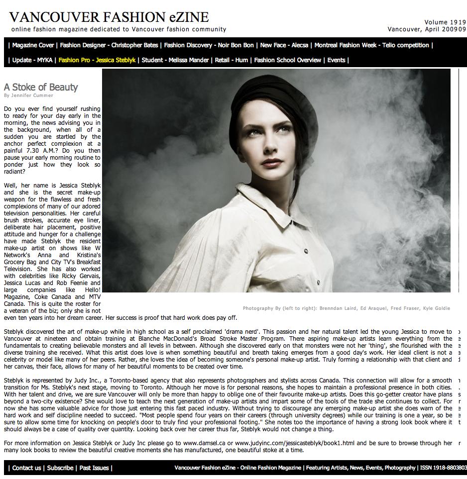 Vancouver Fashion eZine - Online Fashion Magazine | Makeup Artist - Jessica Steblyk