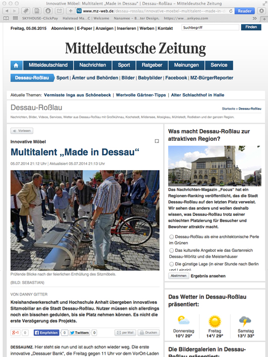 "Publication in German newspaper   Mitteldeutsche Zeitung     Click here to learn more:   Innovative Möbel. Multitalent ""Made in Dessau"""