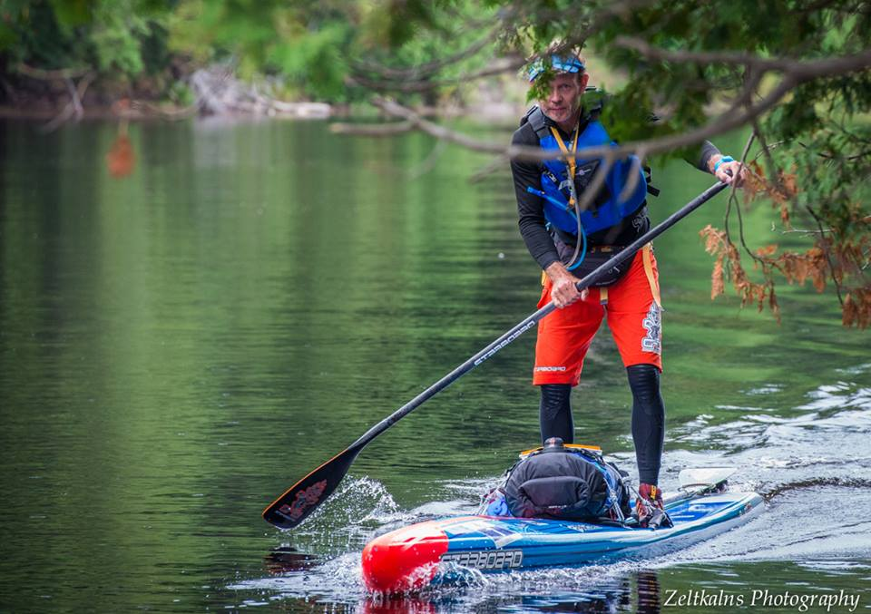 Bart de Zwart, one of the best ultra-marathon SUP paddles in the world, on the Coureur des Bois course in 2015.