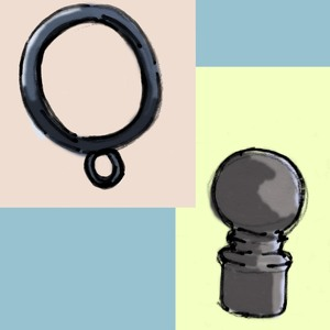 """You may want to look at our selection of black cut-t-order hardware, for use with a finial or the brass mounts for 3/4"""" rod."""