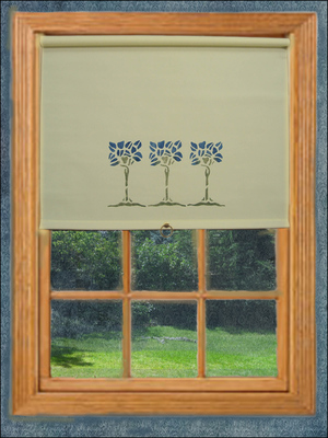 Most shades are mounted within the window frame like this ecru cotton shade with a blue tree stencil. This is a back roll shade that would provide a close seal to the window.
