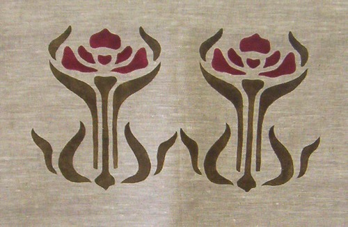 """Large Iris(A): Since this stencil is 8"""" high, we usually use it as a double medallion, but it could also be a border on a large shade or curtain. It's in loden and dark red here, but as an iris could be any color! $40.00"""