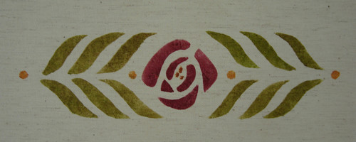 "Small Rose Stencil  :  A  horizontal medallion or border adapted from our small runner design, shown here in wine, antique gold and loden on natural handky linen, 2 1/2"" high x 9"" wide. $40.00 per motif"