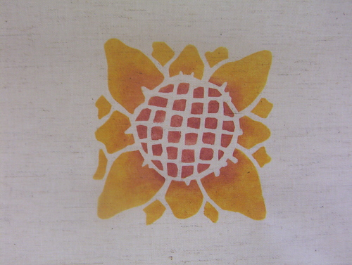 The   Sunflower:   Stencil can be a medallion or applied as sunny border. Shown here in gold and rust. 5 1/2 inches. $40.00 per motif.