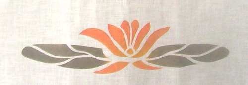 "Water Lily Medallion :     Shown in tangerine, gold and sage. 15"" wide.   A  lso available as an appliqué. $40.00 per motif."