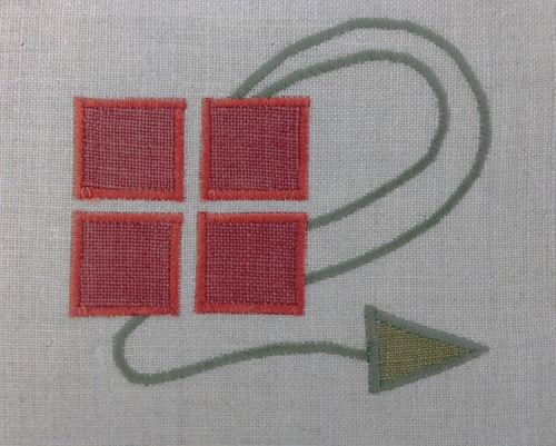 Simple Checkerberry  : a classic Arts & Crafts motif shown here in terra cotta and sage, four inches wide, $35.00 per motif.