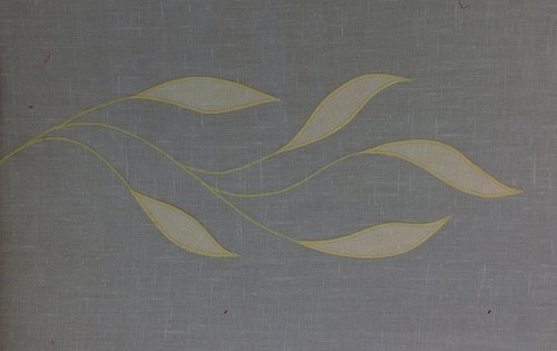 "Willow Border, Large  : Here in antique gold. Great design for bedspreads and larger curtain panels. $40.00 per repeat of one  branch (14 1/2"" wide)."