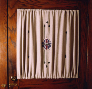 Curtains on door windows often have a rod pocket top and bottom to keep the curtains from getting caught in a hinge.