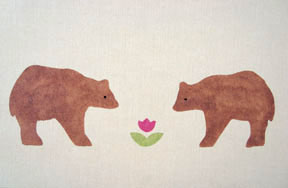Cal Bears  from Prairie Childhood in brown, bright pink & light green. $40.00