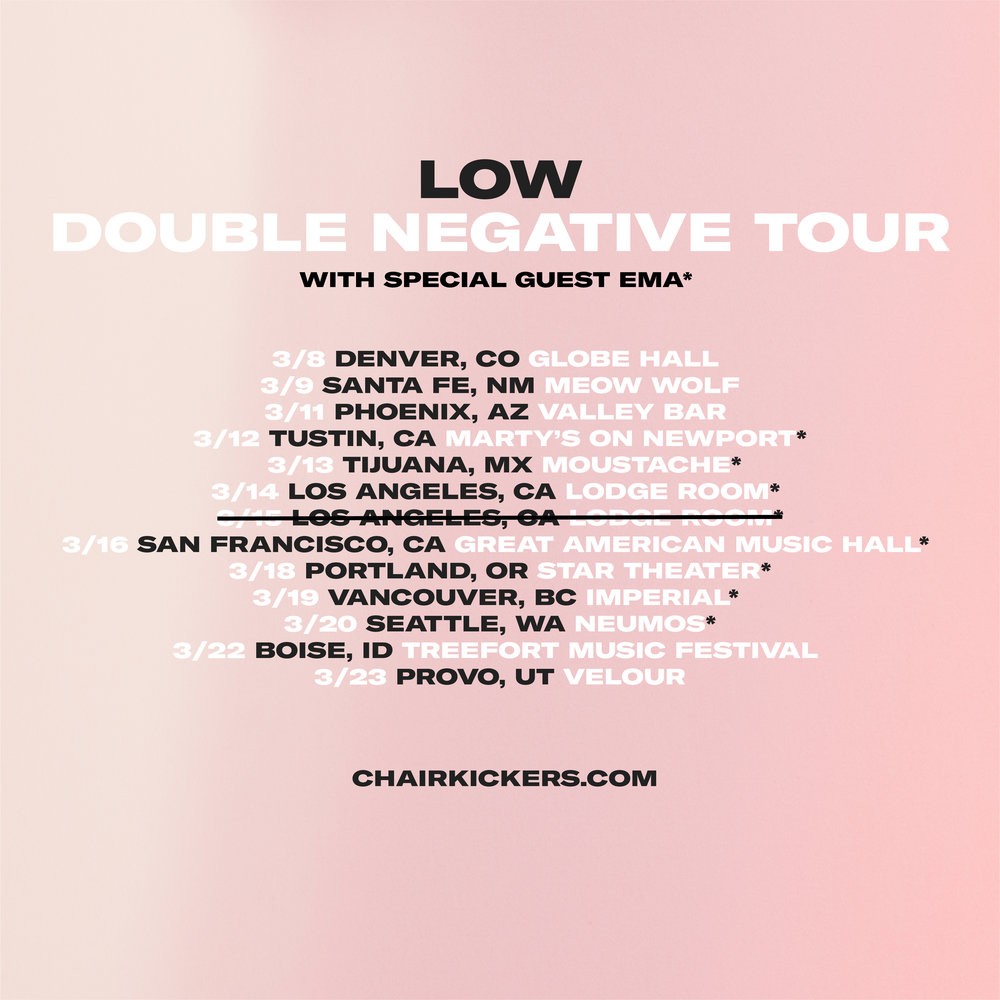 Stoked to be heading out on tour with   LOW   in March!!!  The first LA show already sold out —  check here for tix.