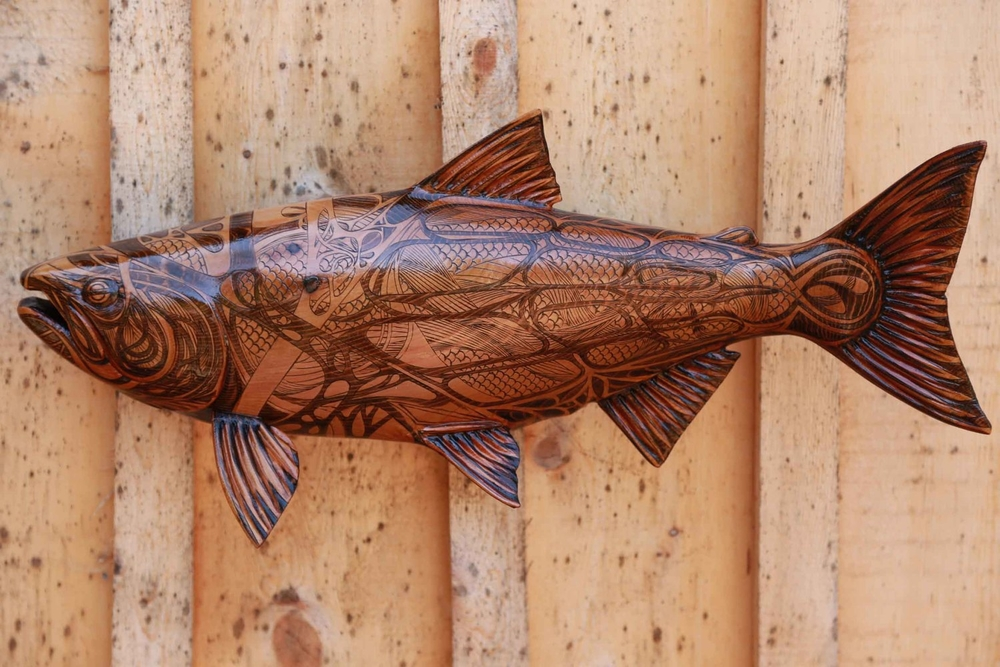 "Williams Creek Sockeye #1: Pyrographic Fish Series (Western Red Cedar @24""/ 610mm)"