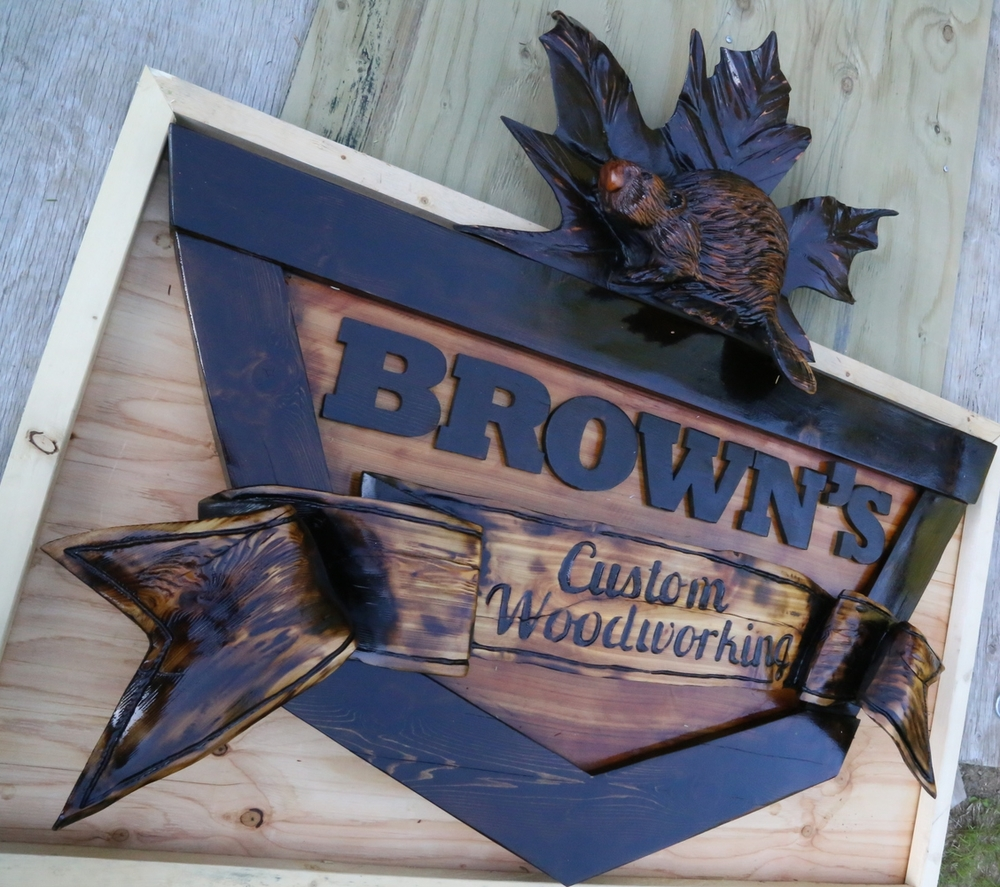 "Brown's Custom Woodworking Sign (Western Red Cedar @ 60x48""/ 1500x1220mm)"