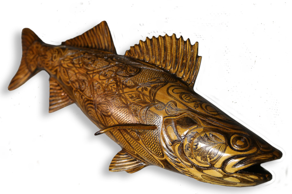 "Belmont Walleye #1: Pyrographic Fish Series (Western Red Cedar @24""/ 610mm)"