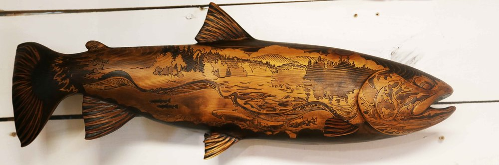 "Blair's Retirement Gift Steelhead - 28x10.5x7"" - western red cedar"