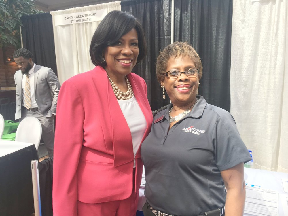 Cynthia Shelmire, one of our most experienced counselors, with Mayor-President Broome at the 2018 Employer Business Job Fair.