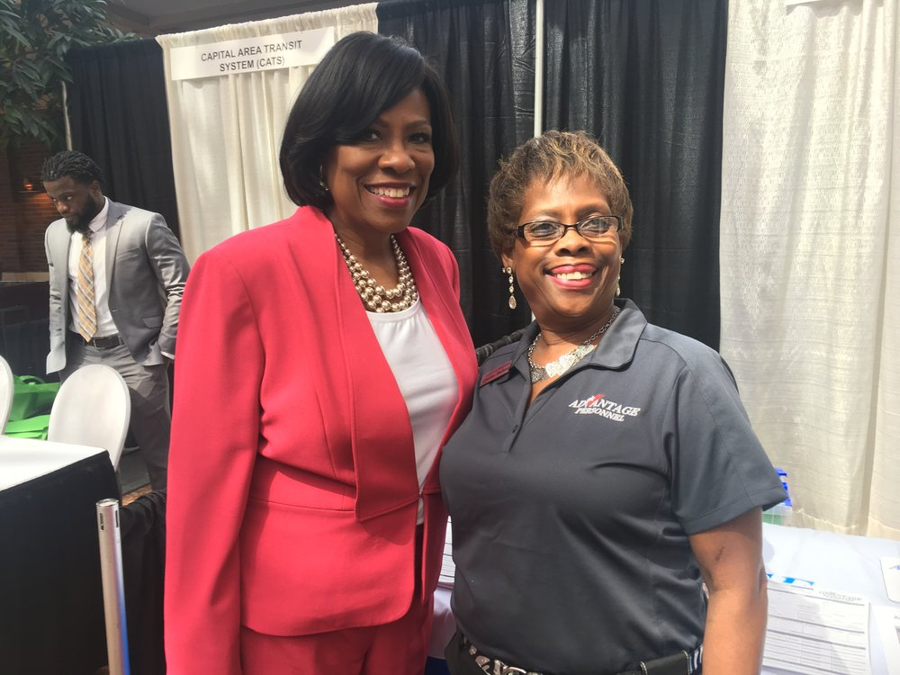 Cynthia Shelmire and Mayor-President Broome at 2018 Employer Business Job Fair.JPG