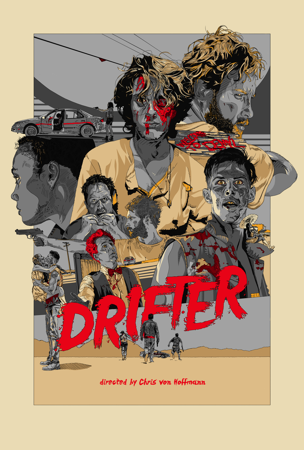 Variant One Sheet for the feature film  DRIFTER . Directed by Chris von Hoffmann and s  tarring Aria Emory,   Drew Harwood, Anthony Ficco, Rebecca Fraiser,and Jonah Ehrenreich.     Original artwork by  Jonathan B Perez     ©