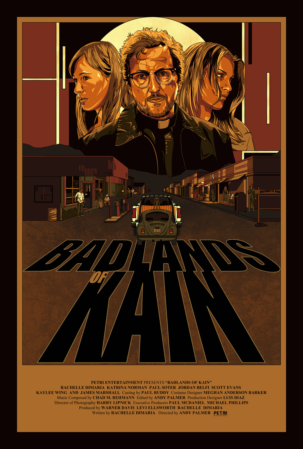 "Regular One Sheet for the feature film ""  BADLANDS OF KAIN,  ""Directed by Andy Palmer. Starring Rachelle Dimaria, Katrina Norman ( No Strings Attached ), Paul Soter ( Super Troopers ), Jordan Belfi ( Surrogates ), Scott Evans, Kaylee Wing, and James Marshall ( Twin Peaks )    Original artwork by   Jonathan B Perez ©"