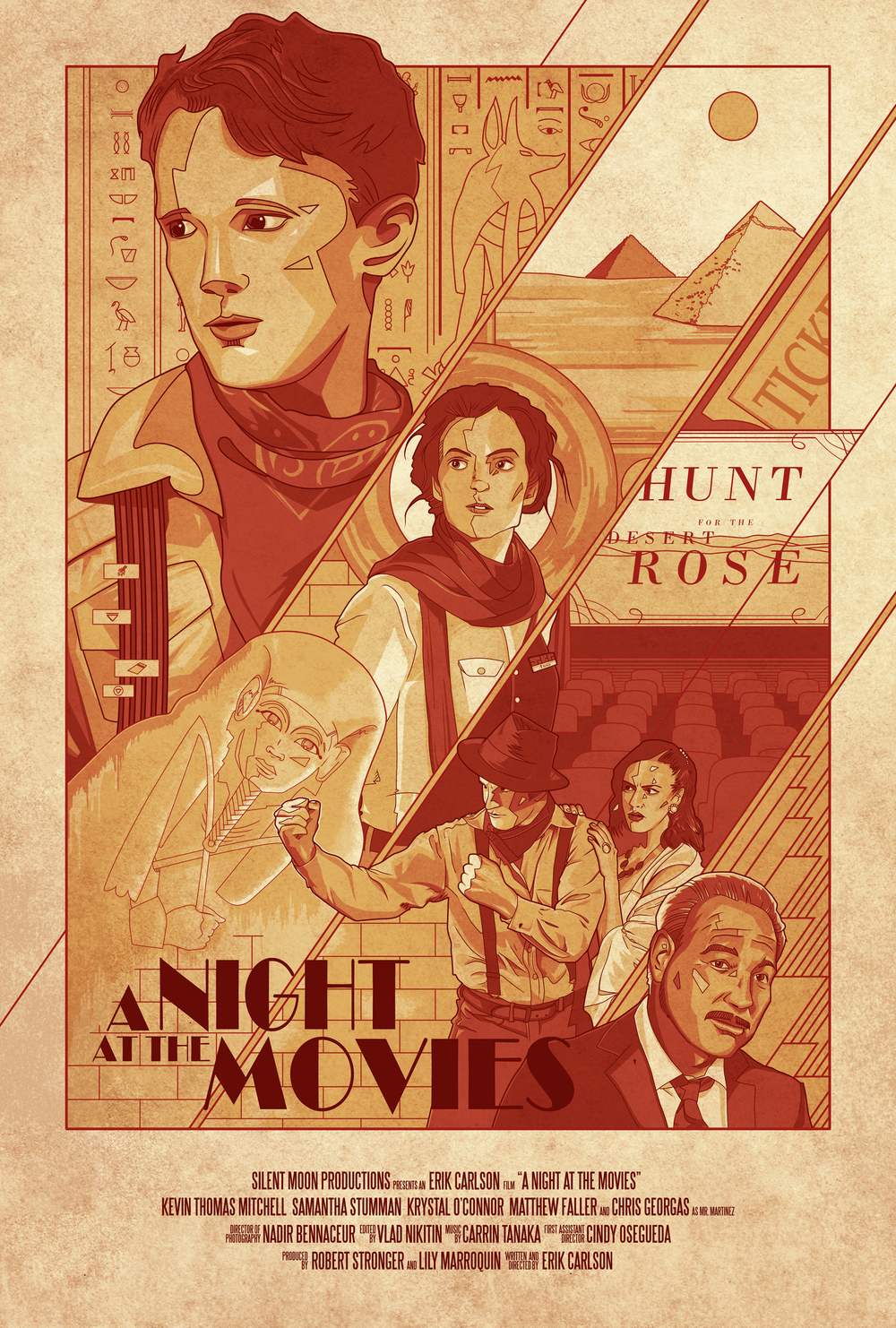"Regular One Sheet for the short film ""A Night At The Movies"", Written and Directed by Erik Carlson and starring Kevin Thomas Mitchell, Samantha Stumman, Krystal O'Connor, Matthew Faller, and Chris Georgas.  Original artwork by Jonathan B Perez ©"