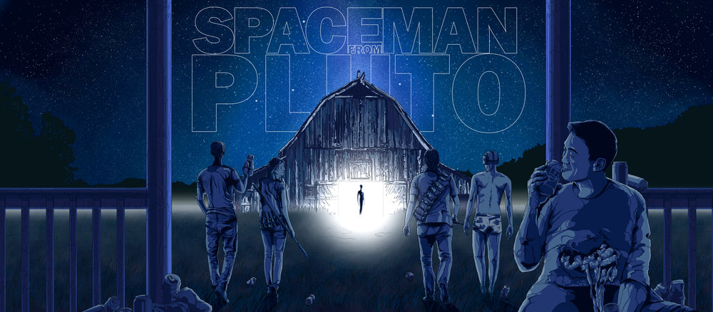 "(Titled) Key Pitch Concept piece for the feature film ""  Spaceman From Pluto"",  Written by George Caine & Stephen Ohl and Ryan Scaringe.  Coming soon from Kinogo Pictures.     Original artwork by   Jonathan B Perez ©"