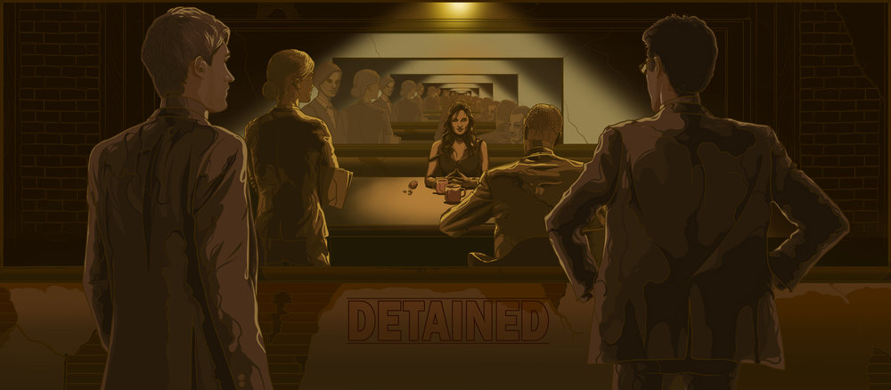 "(Titled) Key Pitch Concept piece for the feature film ""  Detained"",  Written by Jeremy Palmer and produced by Ryan Scaringe.  Coming soon from Kinogo Pictures.     Original artwork by   Jonathan B Perez ©"