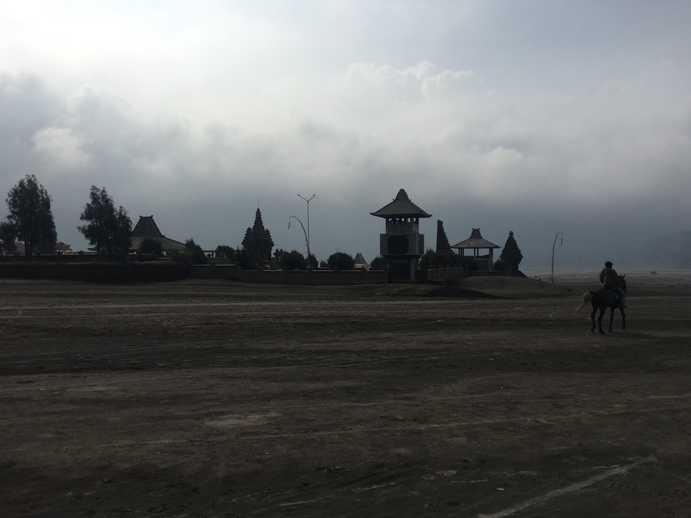 A temple at the base of Mount Bromo